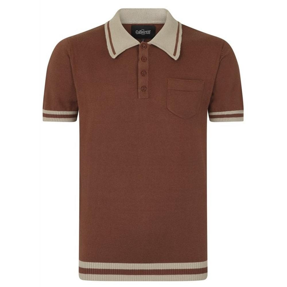 Collectif Pocket and Contrast Collar Fine Gauge Knit Polo Brown