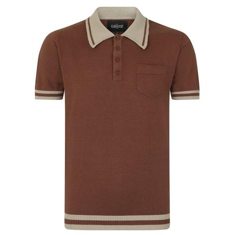 Collectif Pocket and Contrast Collar Fine Gauge Knit Polo Brown Thumbnail 1