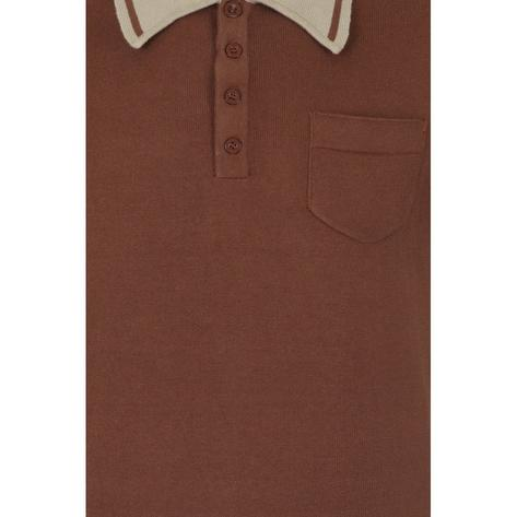 Collectif Pocket and Contrast Collar Fine Gauge Knit Polo Brown Thumbnail 3