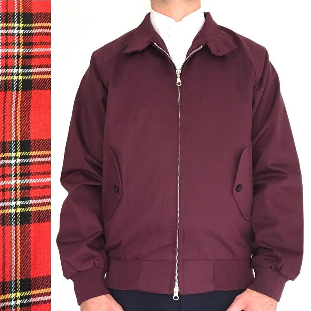 Real Hoxton London Raglan Sleeve Tartan Lined Harrington Jacket Burgundy