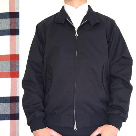 Real Hoxton London Raglan Sleeve Harrington Jacket Navy Thumbnail 1