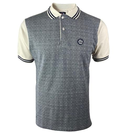 Ska & Soul Dobby Panel Pique Polo Shirt Ecru