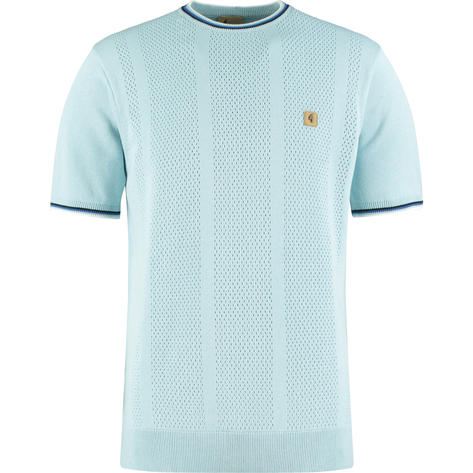 Gabicci Vintage Aertx  Knit Tipped Crew Neck Top Sky Blue