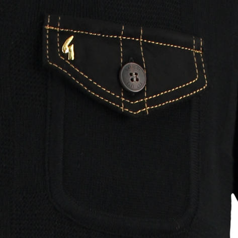 Gabicci Vintage Faux Suede Pocket Button Through Polo Black Thumbnail 2