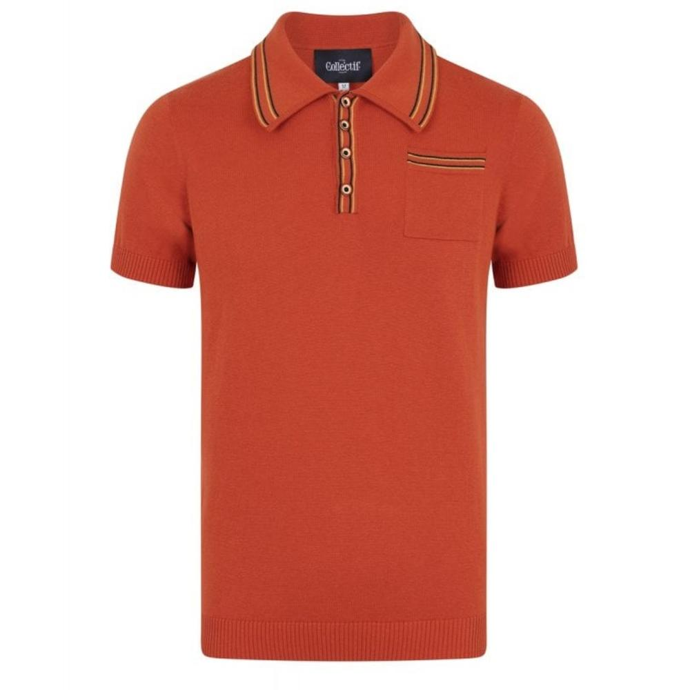 Collectif Knit Polo With Tipping And Pocket Orange