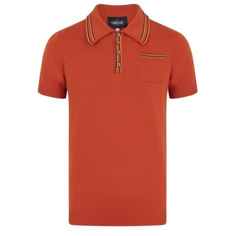 Collectif Knit Polo With Tipping And Pocket Orange Thumbnail 1