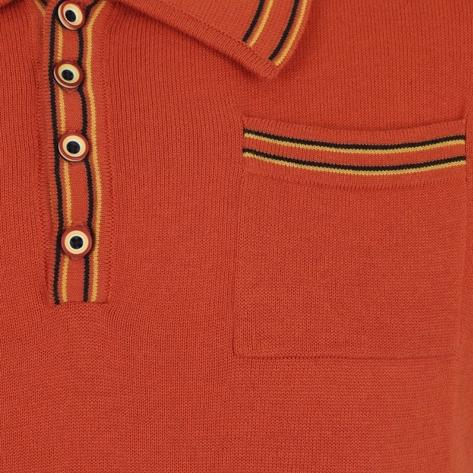 Collectif Knit Polo With Tipping And Pocket Orange Thumbnail 2