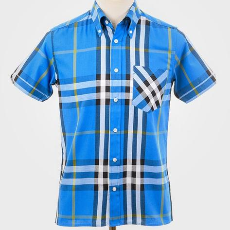 Art Gallery Button Down Large Check S/S Shirt Bright Blue