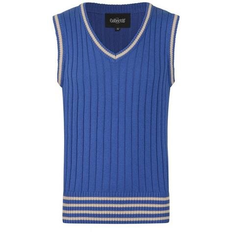 Collectif Rib Knit Tank Top Blue Thumbnail 1