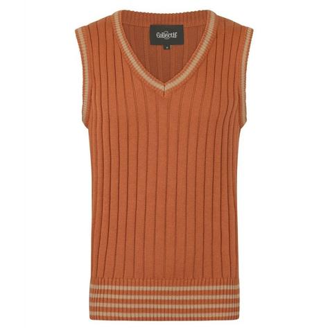 Collectif Rib Knit Tank Top Camel Thumbnail 1