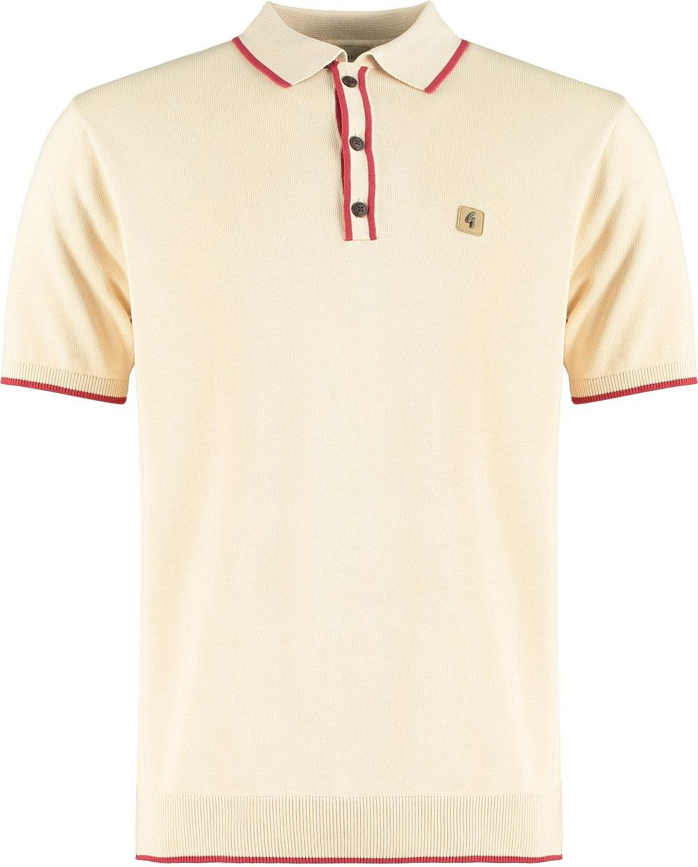 Gabicci Vintage 3 Button Tipping Knit Polo Oat