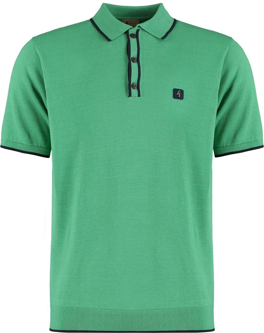 Gabicci Vintage 3 Button Tipping Knit Polo Green