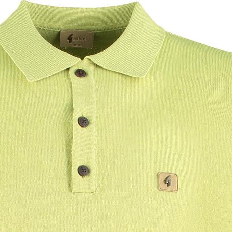 Gabicci Vintage 3 Button Plain Knit Polo Green Thumbnail 2