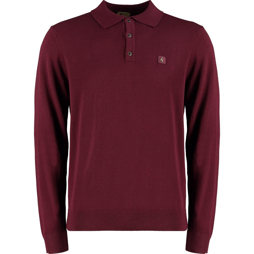 Gabicci Vintage 3 Button Plain Knit Long Sleeve Polo Port Wine