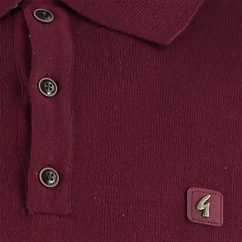 Gabicci Vintage 3 Button Plain Knit Long Sleeve Polo Port Wine Thumbnail 2