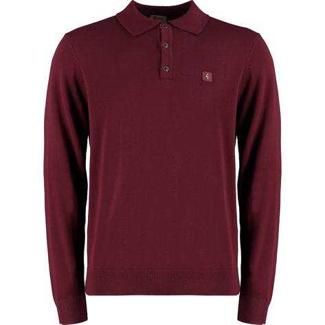 Gabicci Vintage 3 Button Plain Knit Long Sleeve Polo Port Wine Thumbnail 1