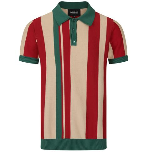 Collectif Iregular Block Stripe Knit Polo Multi Colourway Thumbnail 1