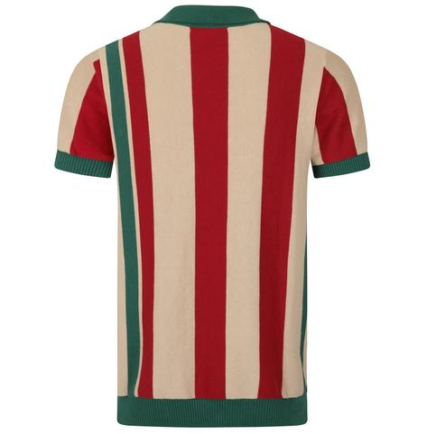 Collectif Iregular Block Stripe Knit Polo Multi Colourway Thumbnail 2