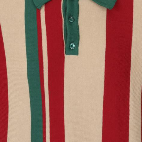 Collectif Iregular Block Stripe Knit Polo Multi Colourway Thumbnail 3