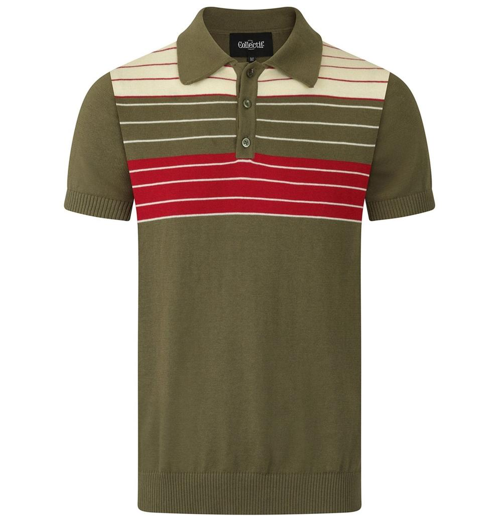 Collectif Chest Stripe Knit Polo Olive Green