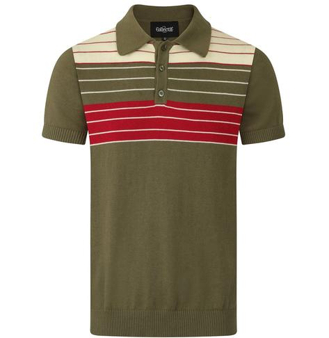 Collectif Chest Stripe Knit Polo Olive Green Thumbnail 1
