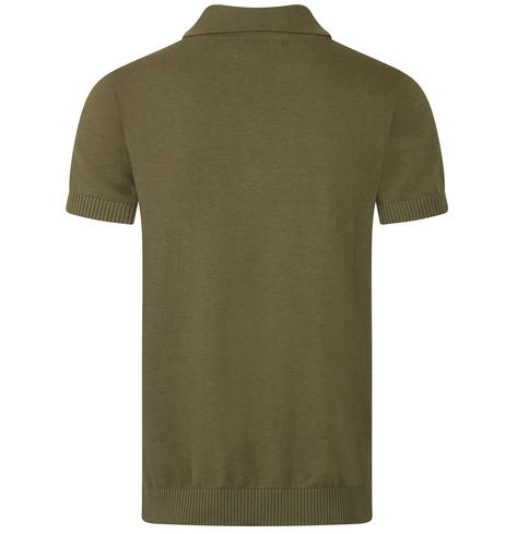Collectif Chest Stripe Knit Polo Olive Green Thumbnail 2
