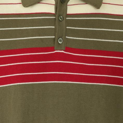 Collectif Chest Stripe Knit Polo Olive Green Thumbnail 3