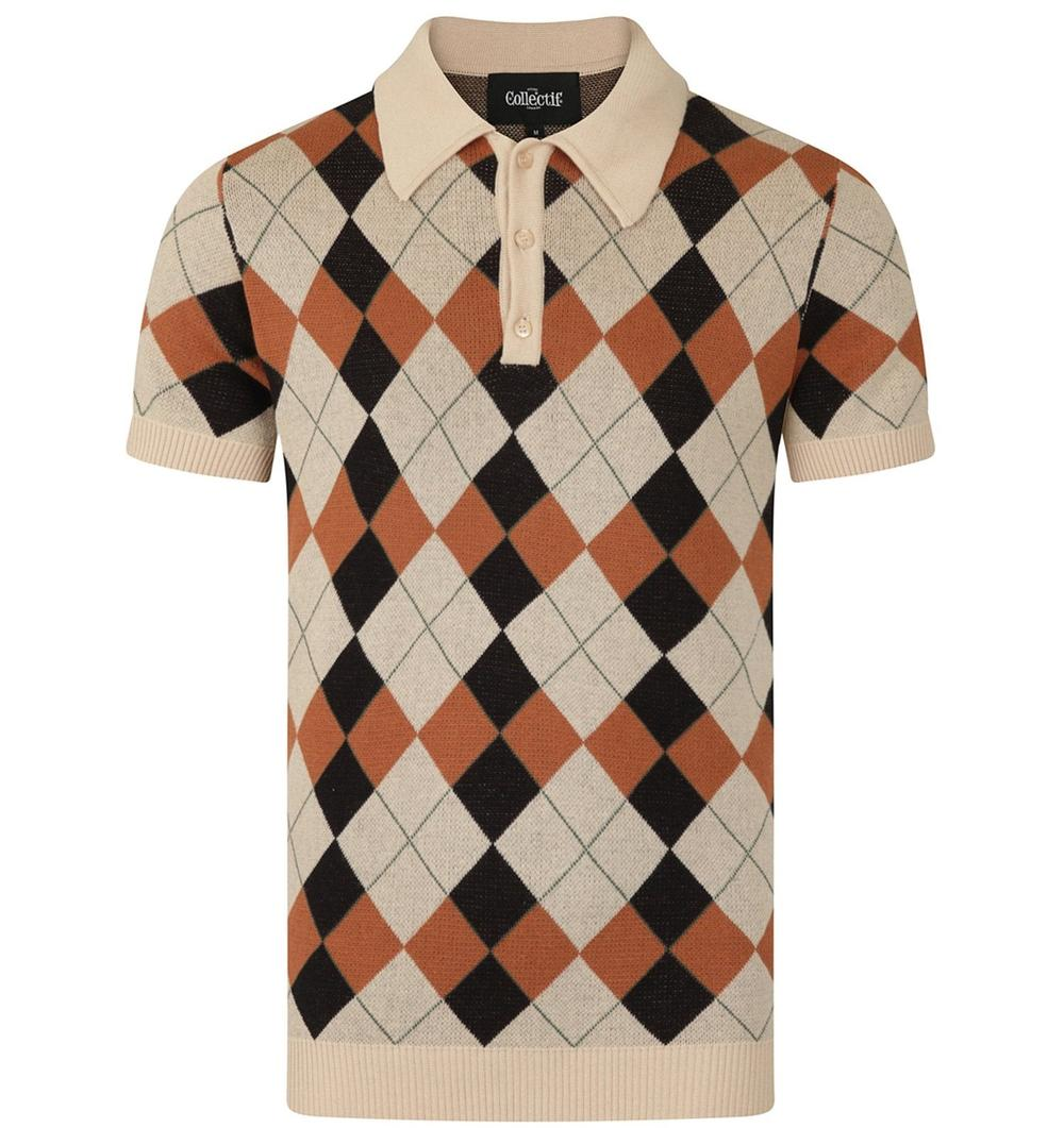 Collectif Argyle Pattern 3 Button Knit Polo Cream