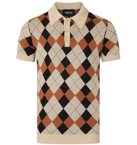 Collectif Argyle Pattern 3 Button Knit Polo Cream Thumbnail 1