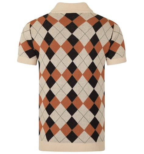 Collectif Argyle Pattern 3 Button Knit Polo Cream Thumbnail 2