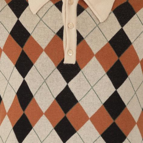 Collectif Argyle Pattern 3 Button Knit Polo Cream Thumbnail 3