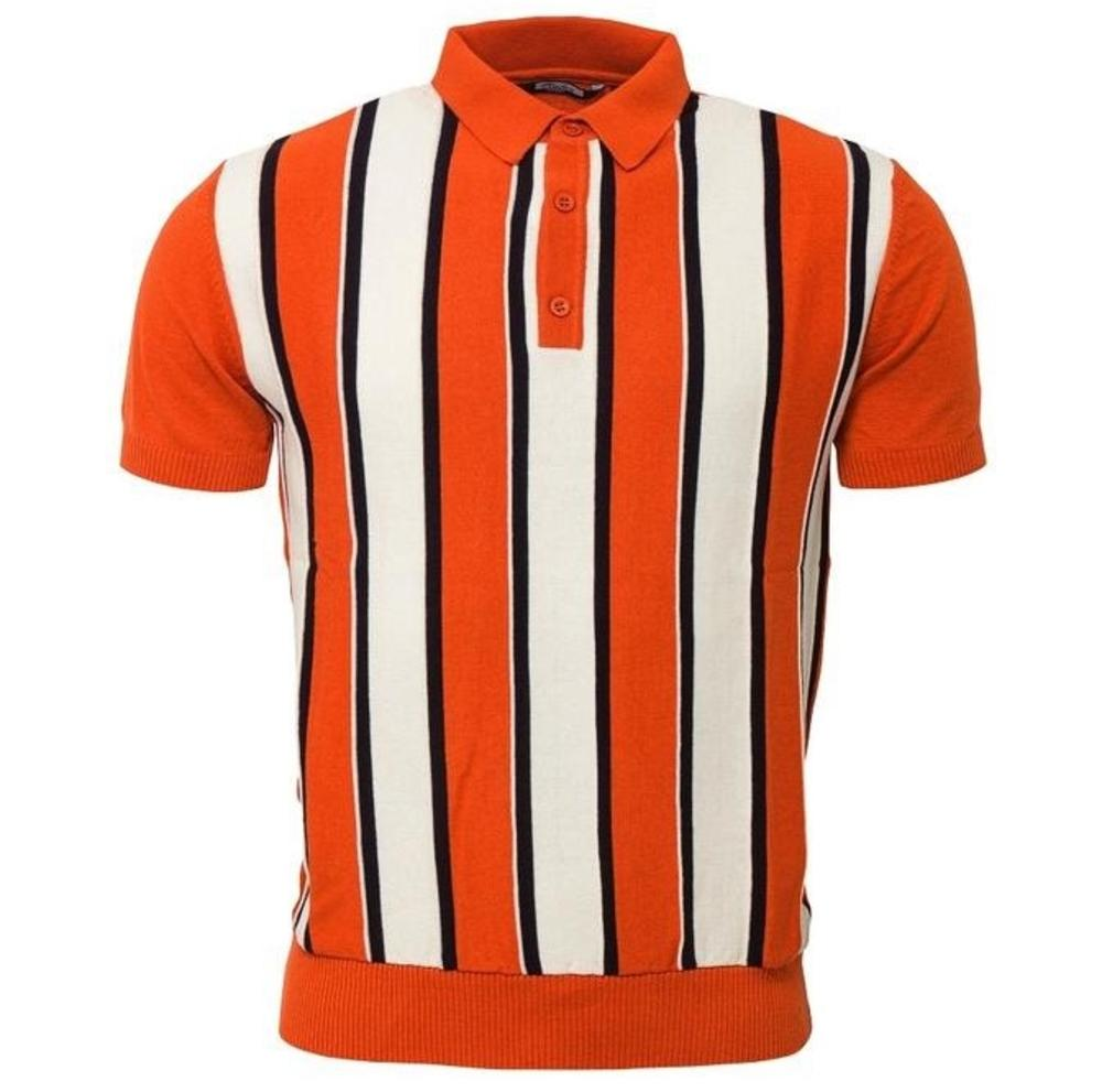 Relco Block Stripe Knit Polo Burnt Orange