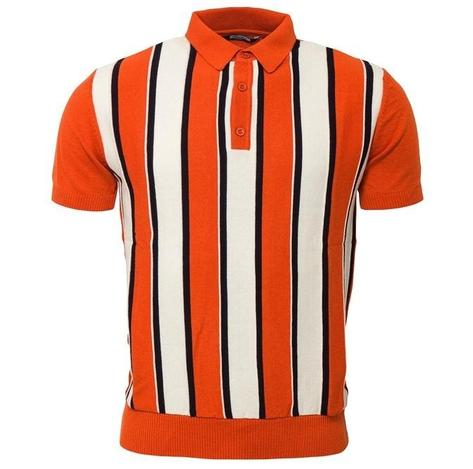 Relco Block Stripe Knit Polo Burnt Orange Thumbnail 1