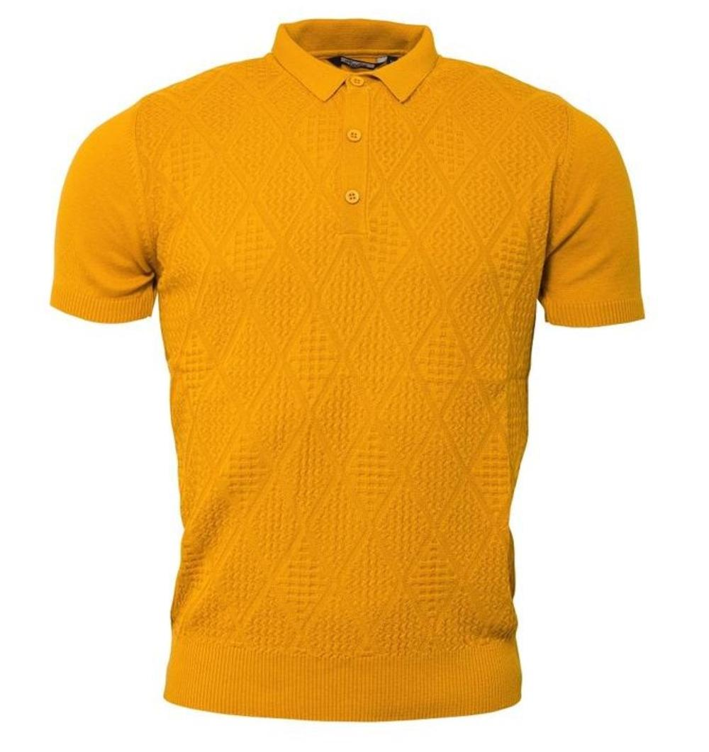 Relco Diamond Textured Knit Polo Mustard