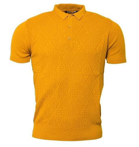 Relco Diamond Textured Knit Polo Mustard Thumbnail 1