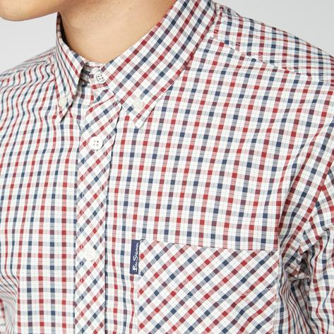 Ben Sherman Short Sleeve House Check Shirt Red White Blue