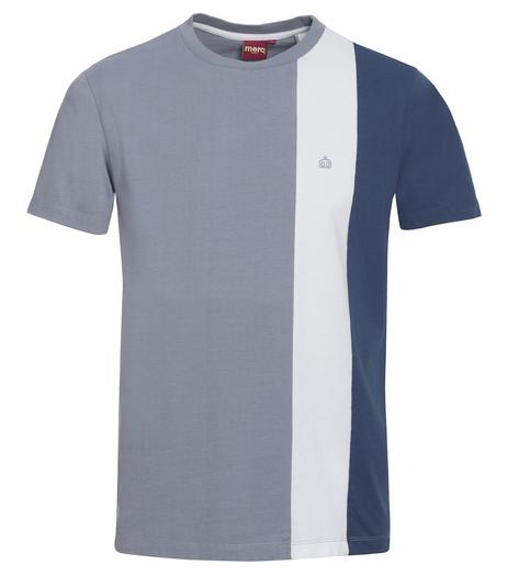 Merc London Cut And Sewn Racing Stripe T Shirt Grey