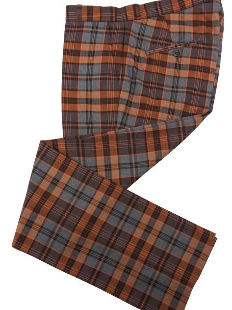Relco Blue and Rust Tartan Check Trousers Thumbnail 1