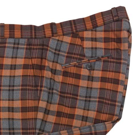 Relco Blue and Rust Tartan Check Trousers Thumbnail 2