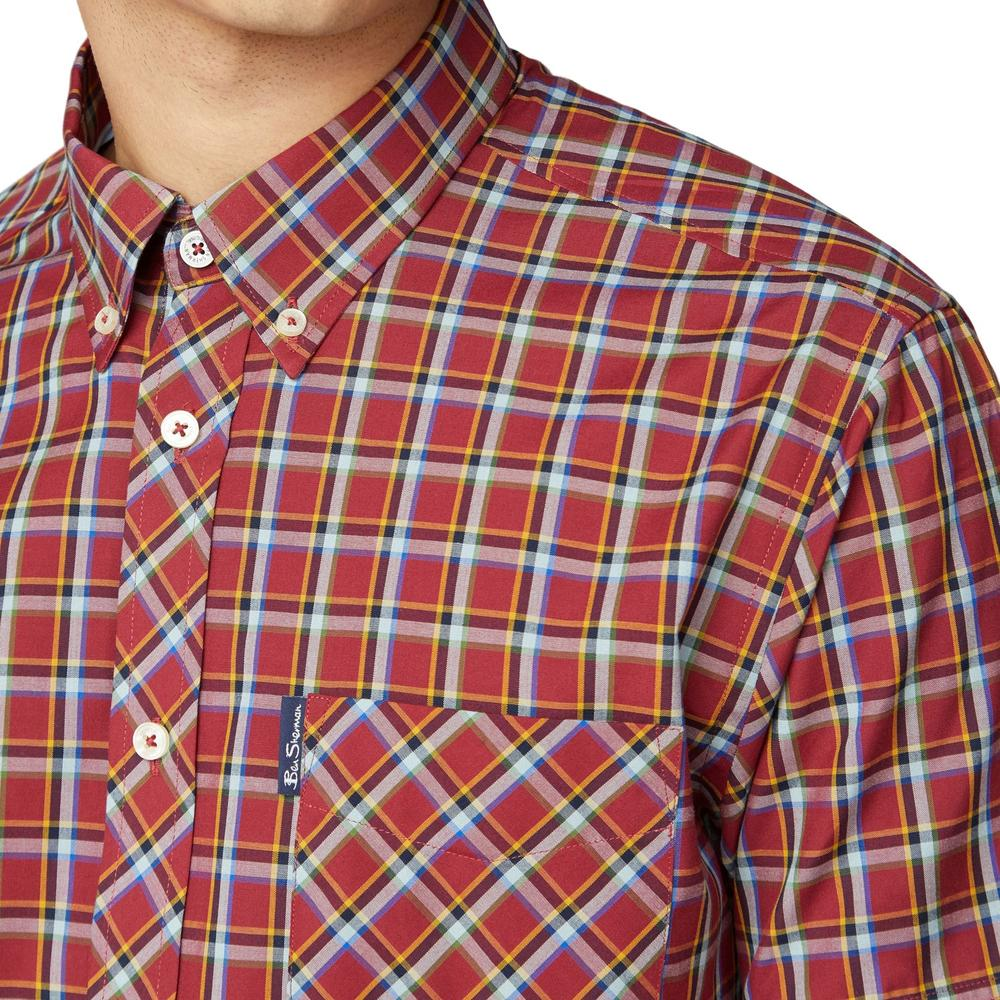 Ben Sherman Short Sleeve Tartan Check Shirt Deep Red