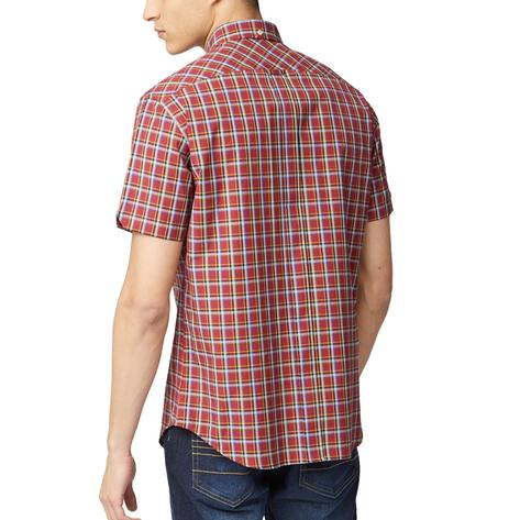 Ben Sherman Short Sleeve Tartan Check Shirt Deep Red Thumbnail 2