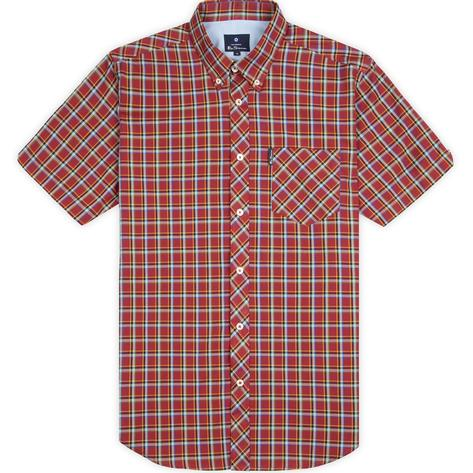 Ben Sherman Short Sleeve Tartan Check Shirt Deep Red Thumbnail 3