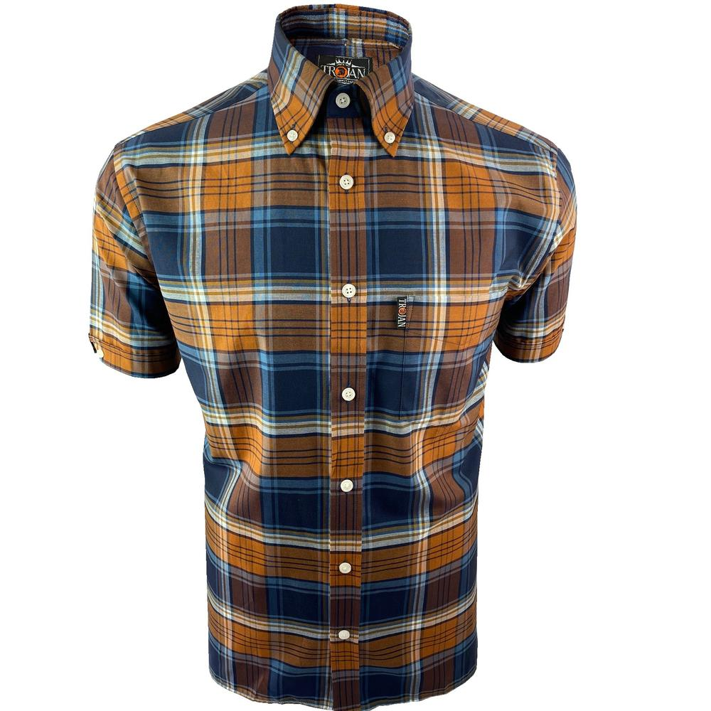 Trojan Records Short Sleeve Check Shirt With Pocket Square Tan