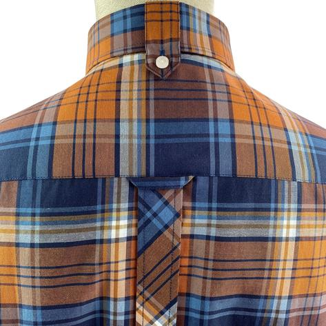 Trojan Records Short Sleeve Check Shirt With Pocket Square Tan Thumbnail 3