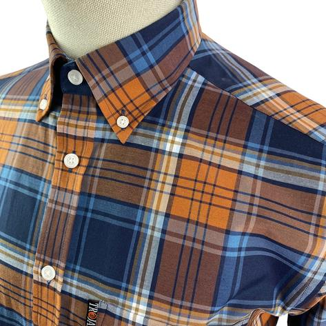 Trojan Records Short Sleeve Check Shirt With Pocket Square Tan Thumbnail 2
