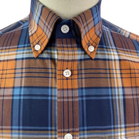 Trojan Records Short Sleeve Check Shirt With Pocket Square Tan Thumbnail 4