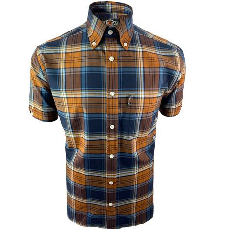 Trojan Records Short Sleeve Check Shirt With Pocket Square Tan Thumbnail 1