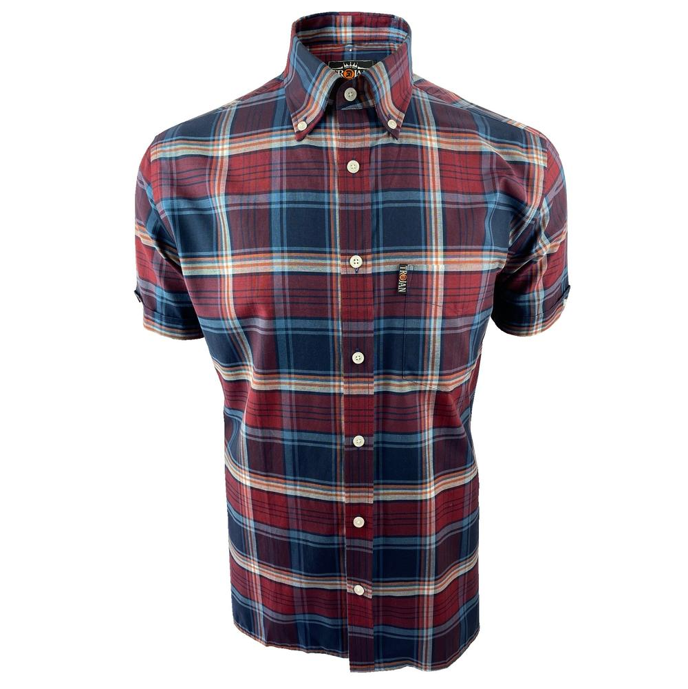 Trojan Records Short Sleeve Check Shirt With Pocket Square Port