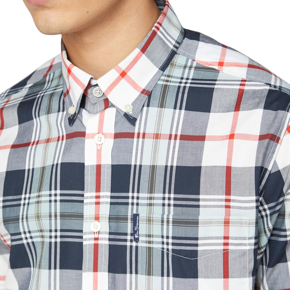 Ben Sherman Short Sleeve Large Check Shirt Navy And Red