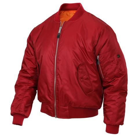 USA Import MA-1 Fighter Pilot Nylon Bomber Jacket Red Thumbnail 1